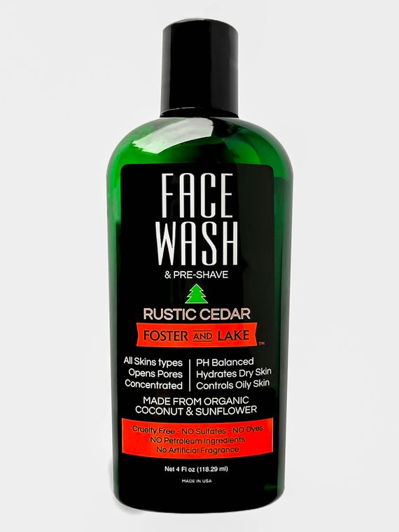 Face Wash Rustic Cedar 4 oz With Organic Coconut & Sunflower