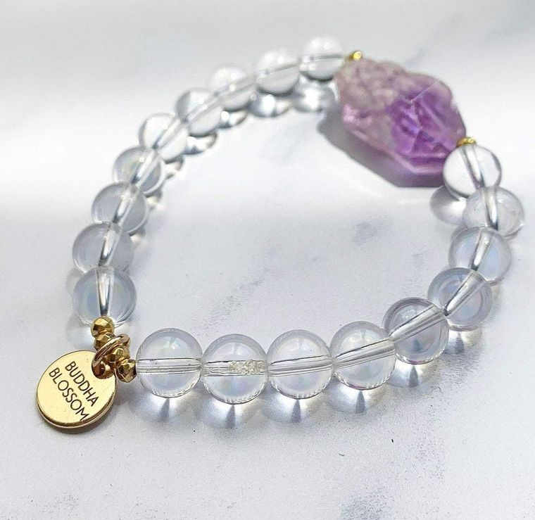 Amethyst and Crystal Quartz Mala Bracelet
