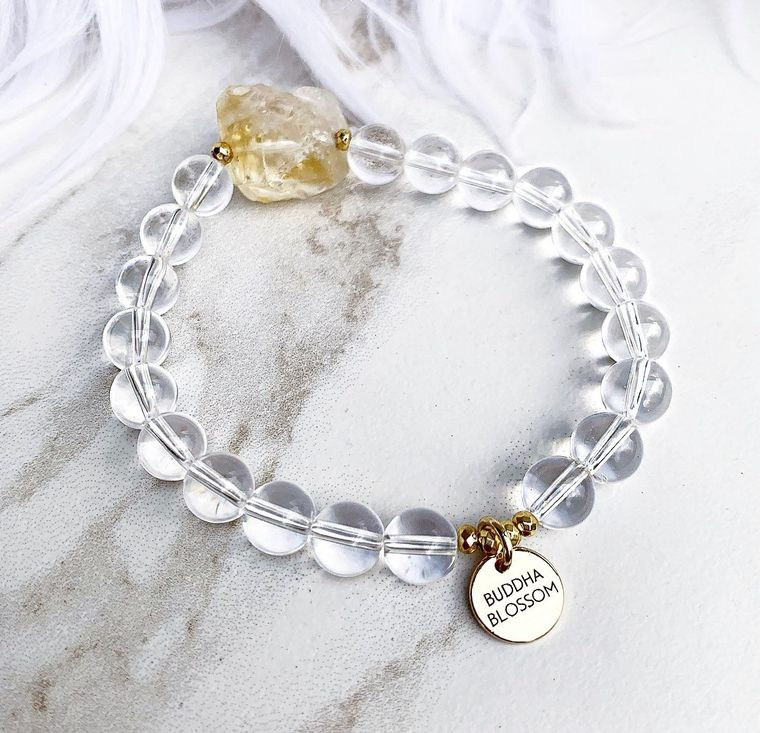 Citrine and Crystal Quartz Mala Bracelet
