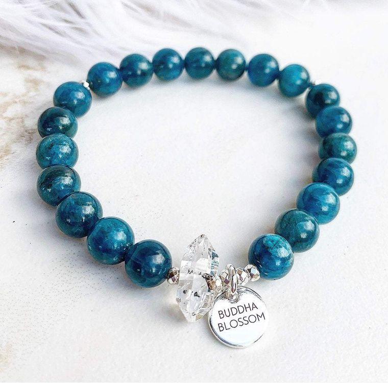Blue Apatite Mala Bracelet