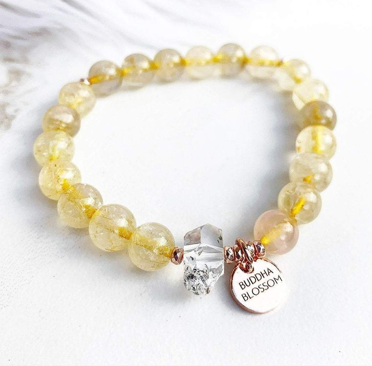 Rutilated Quartz Mala Bracelet