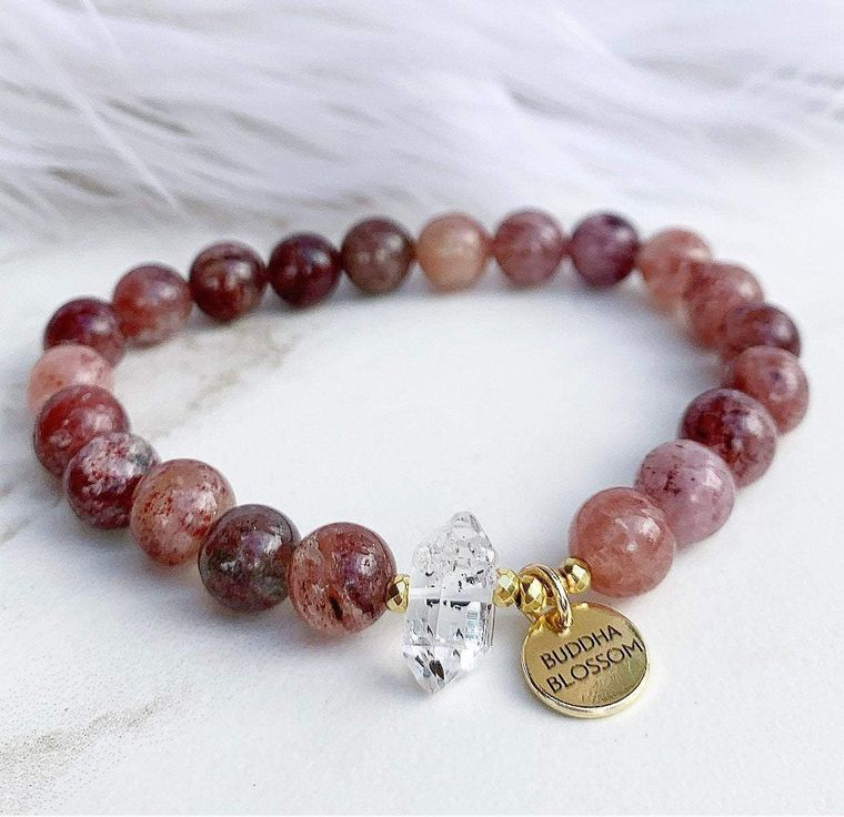Strawberry Quartz Mala Bracelet
