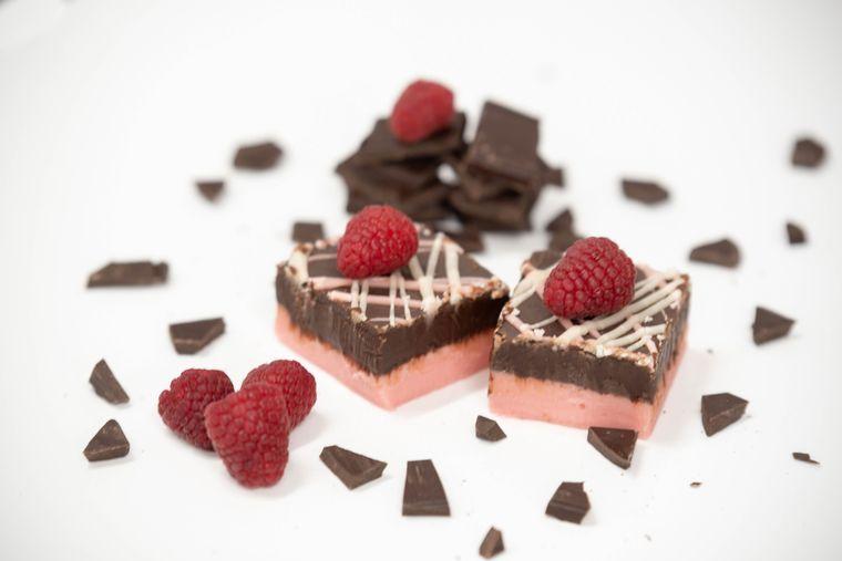 Dark Chocolate Raspberry Truffle Fudge