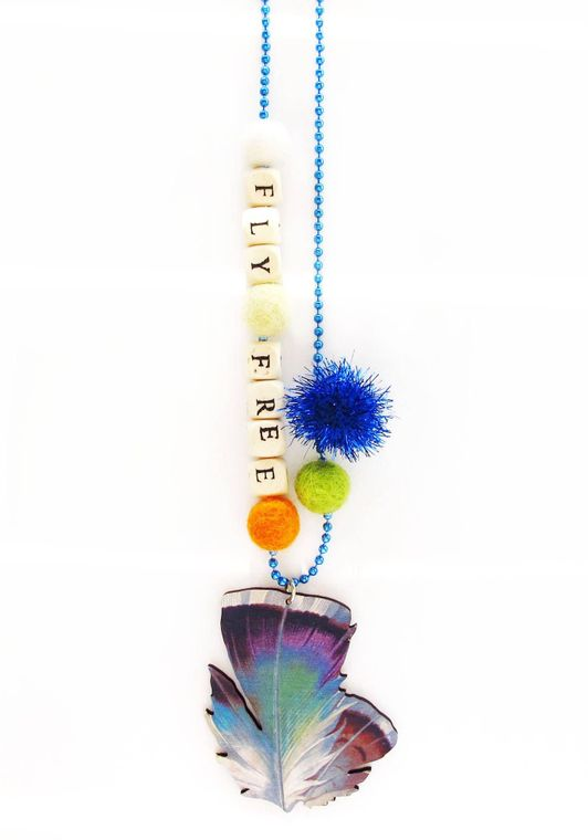 Fly Free Feather Push-pop Necklace - With Push-Pop