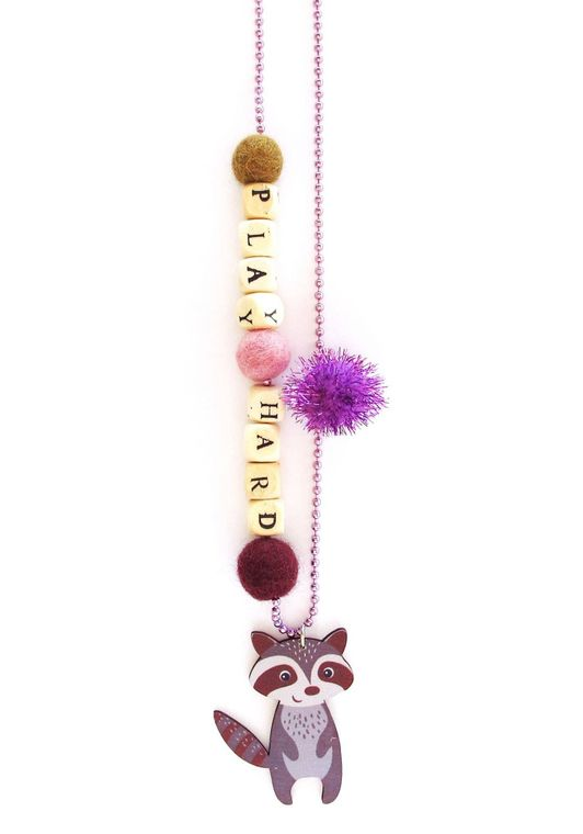 Play Hard Raccoon Push-pop Necklace - Without  Push-pop