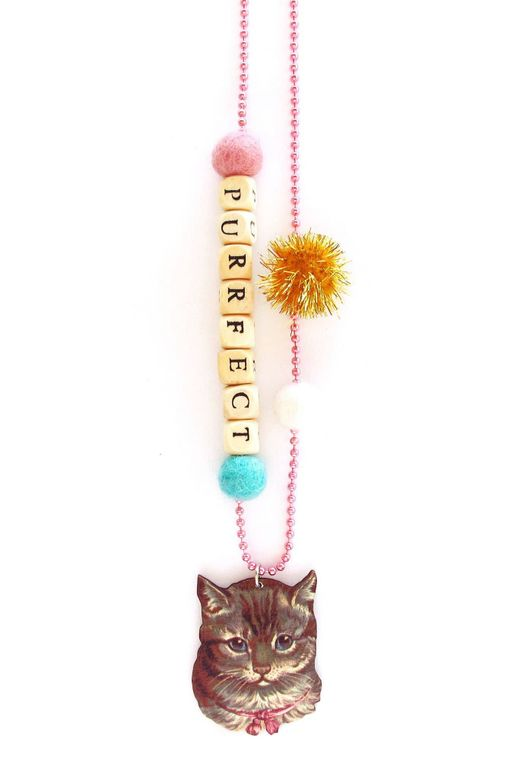 Purrfect Cat With Bow Push-pop Necklace - Without  Push-pop