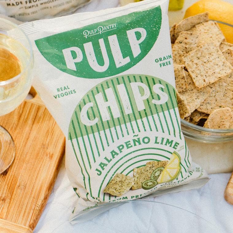 Pulp Pantry Veggie Chips, Jalapeño Lime, 5 oz (Case of 15)  | Vegan ~ Grain Free ~ Eco Friendly