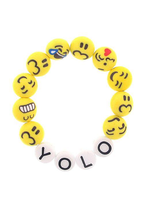 """""""YOLO"""" You Only Live Once Emoji Stretch Bracelet"""