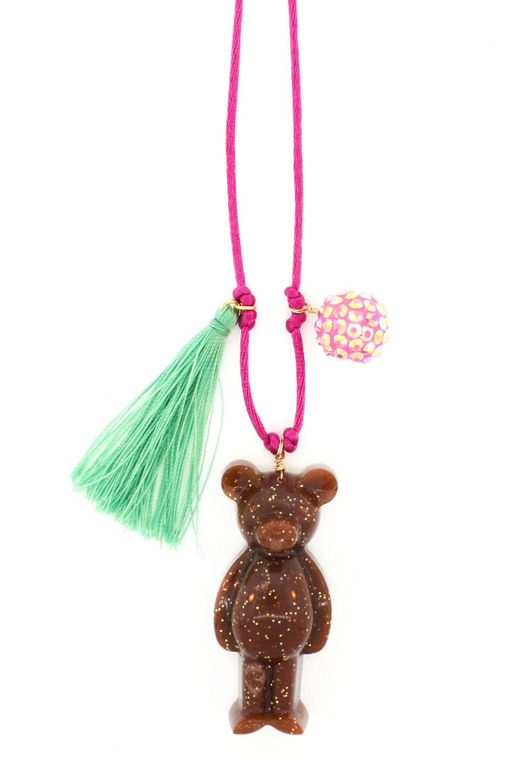 Teddy Bear Resin Necklace + Bookmark