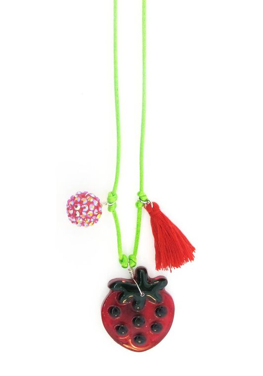 Strawberry Resin Necklace + Bookmark
