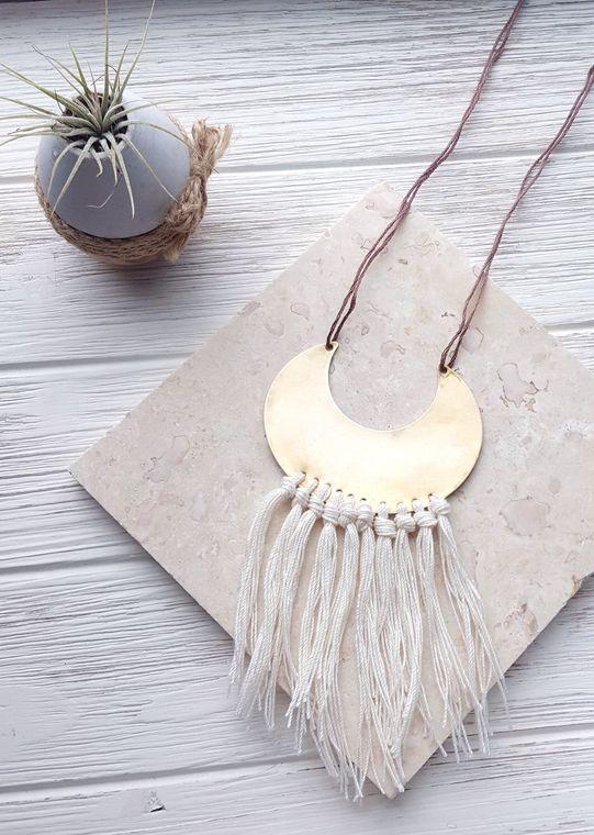 Boho Fringe Necklace, Crescent Moon Necklace, Tassel Necklace, Crescent Necklace, Brass Medallion Necklace, Boho Chic Jewelry, Gypsy Jewelry