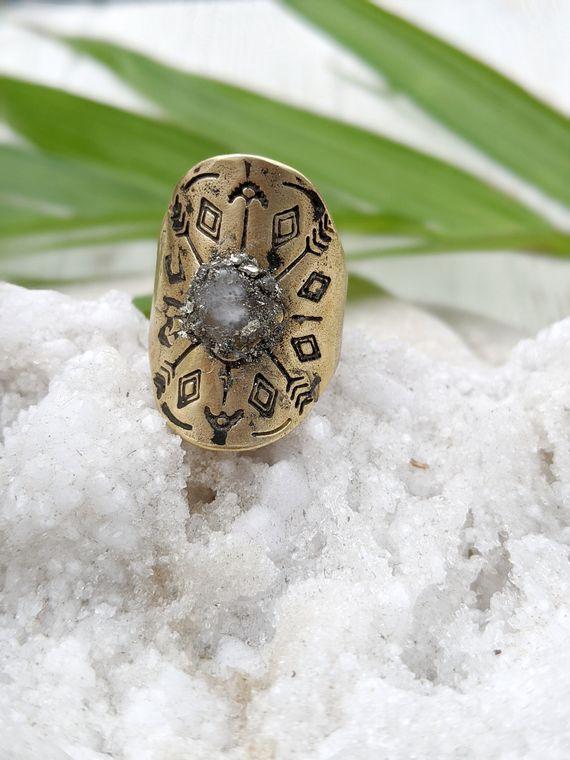 Boho Adjustable Ring Ring Moonstone Moonstone Ring Raw Stone Ring Raw Crystal Ring Stamped Adjustable Ring Unique Moonstone Ring