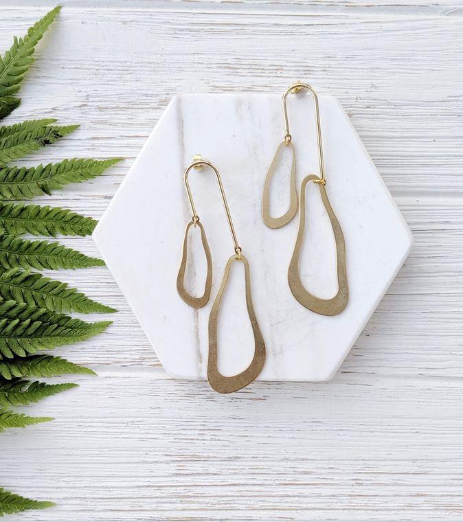 Abstract Earrings Mismatch Earrings Artsy Jewelry Asymmetrical Earring Unusual Earrings Modern Brass Earrings Asymmetrical Jewelry Dynamo