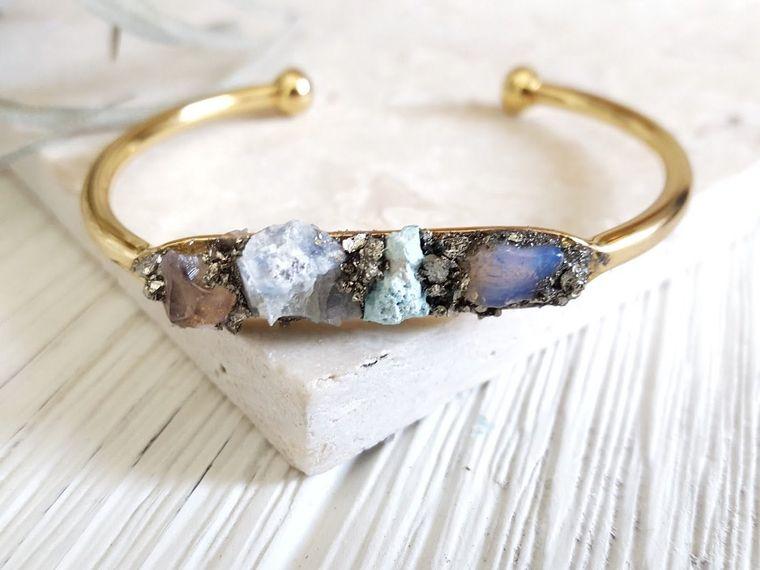 Raw Stone Bracelet Boho Raw Bracelet Gold Cuff Bracelet Turquoise Boho Chic Gold Cuff Stone Bracelet Moonstone Bracelet 4 Stone Bracelet