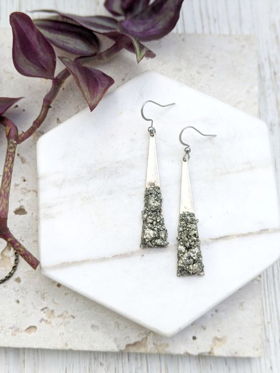 Silver Triangle Earrings Bold Statement Earrings Sparkly Statement Earrings Crystal Statement Earrings Raw Stone Earrings Dangle Dynamo