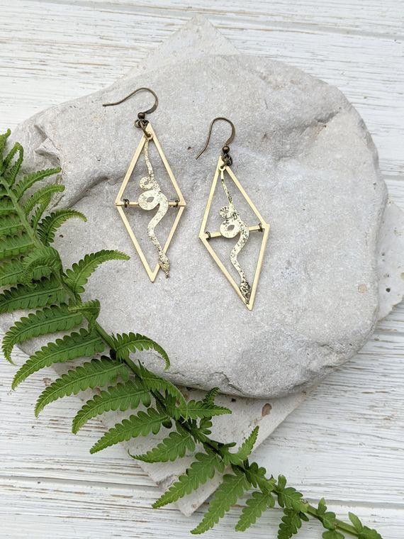 Snake Earrings Snake Dangle Earrings Tarot Jewelry Edgy Earrings Edgy Earrings for Her Earrings for Witch Snake Jewelry for Women Dynamo