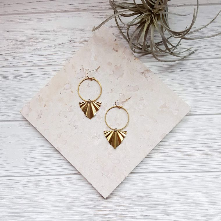 Textured Earrings Brass Hoop Earrings Gold Leaves Earrings Leaf Hoop Earrings Autumn Leaf Earrings Modern Nature Jewelry Nature Lover Gift