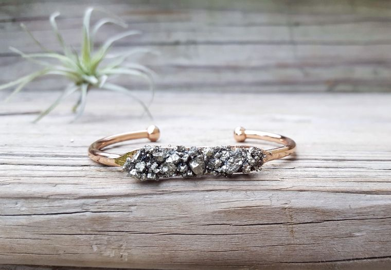Raw Mineral Jewelry Rose Gold Bracelet Bridesmaid Gift Pyrite Bracelet Pyrite Jewelry Rose Gold Cuff Bracelet Christmas Gift for Women