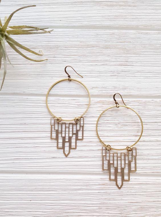Gypsy Earrings Boho Hoops Brass Hoop Earrings Art Deco Earrings Geometric Earrings Boho Earrings Hoop Statement Earrings Chandelier Earrings