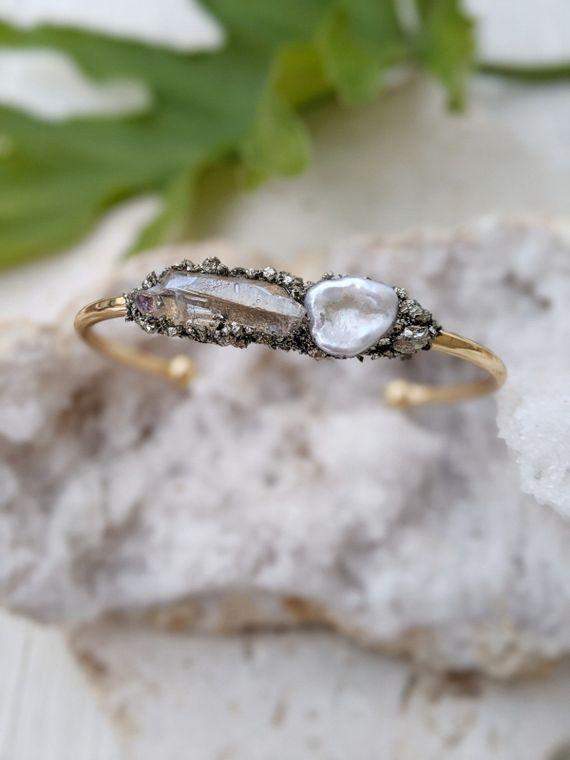 Pearl Cuff Bracelet Gold Bracelet Wedding Bracelet Cuff Raw Pyrite Bracelet Wedding Crystal Wedding Bracelet Healing Stone Bracelet