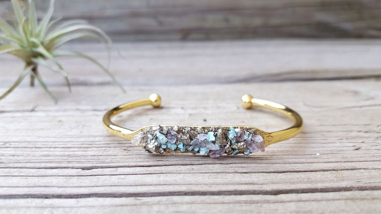 Raw Amethyst Crystal, Raw Turquoise Jewelry,  Pyrite Bracelet, Cuff Bracelet Druzy Cuff Bracelet Christmas Gift Druzy Stone Bracelet Silver