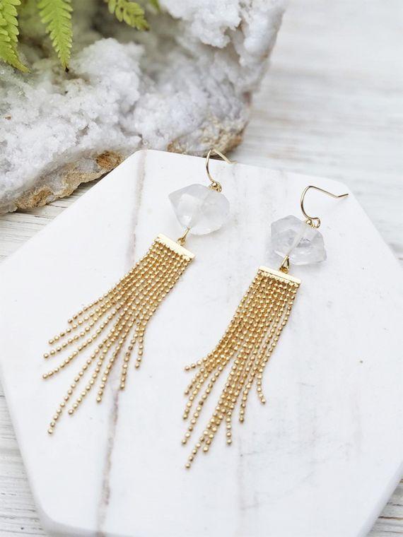 Gold Holiday Earrings Rough Quartz Jewelry Fancy Gold Earrings Raw Crystal Earring Gold Chain Earrings Stylish Earrings Bead Chain Earrings