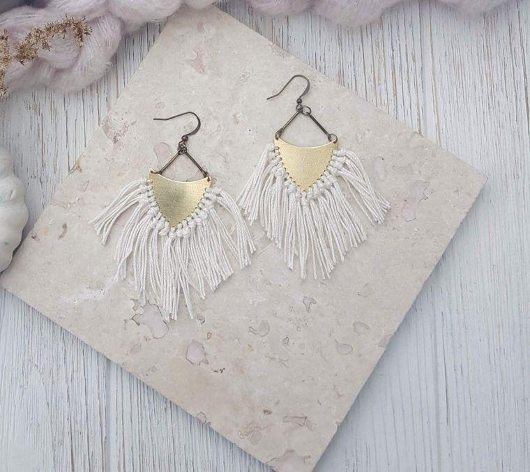 Fringe Earrings Boho Earrings Earrings Brass Earrings Gypsy Jewelry Tassle Earrings Boho Chic Jewelry Arrowhead Earrings Dynamo Coachella