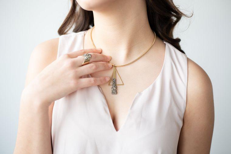 Raw Stone Necklace Pyrite Necklace Pyrite Jewelry Pyrite Gemstone Bold Necklace Sparkly Party Jewelry Modern Statement Necklace Dynamo
