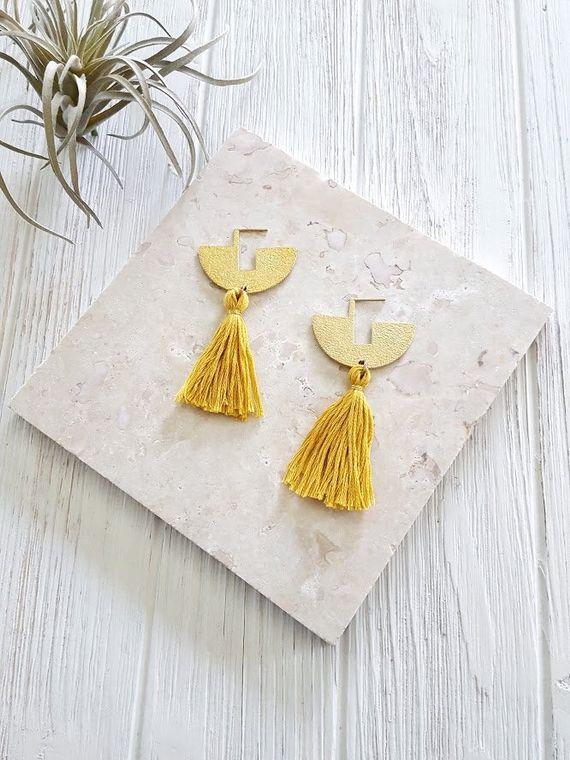 Modern Boho Earrings Resort Wear Jewelry Yellow Tassel Tassel Statement Earrings Boho Tassel Earrings Bright Earrings  Mustard Yellow Dynamo