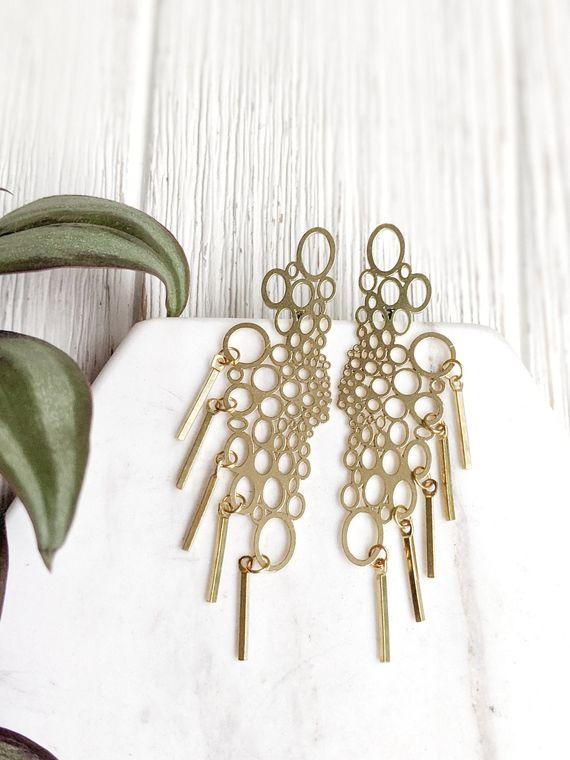 Long Brass Earrings Statement Post Earrings Circle Stud Earrings Irregular Earrings Small Circle Stud Earrings Brass Fringe Earrings Dynamo