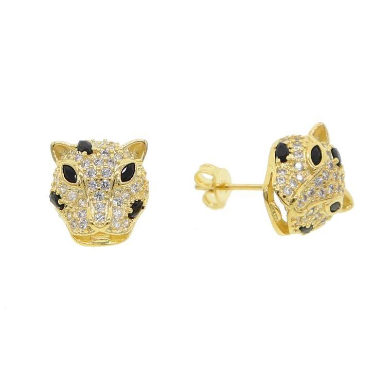 Golden Leopard Studs