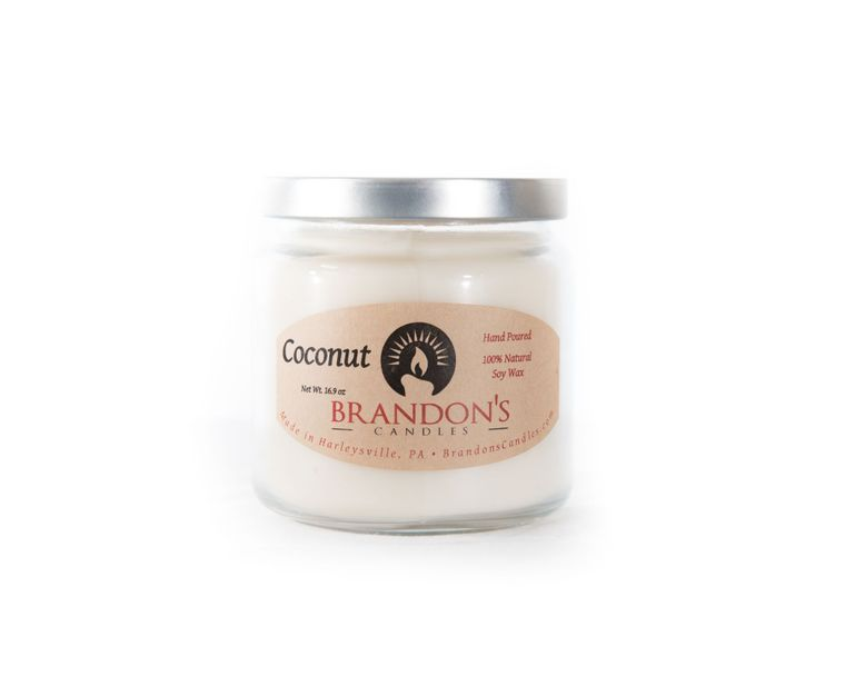 Coconut Scented, White Colored Soy Jar Candle, 16.9 oz.