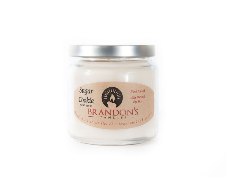 Sugar Cookie Scented, Cream Colored Soy Jar Candle, 16.9 oz.