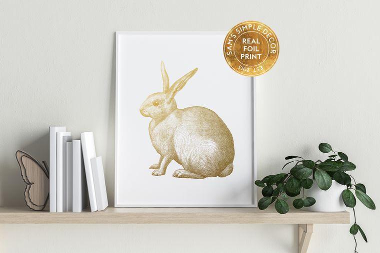 Rabbit - Real Gold Foil Print