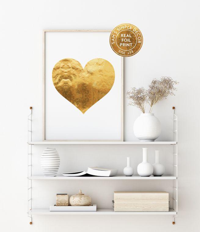 Geometric Heart - Real Gold Foil Print