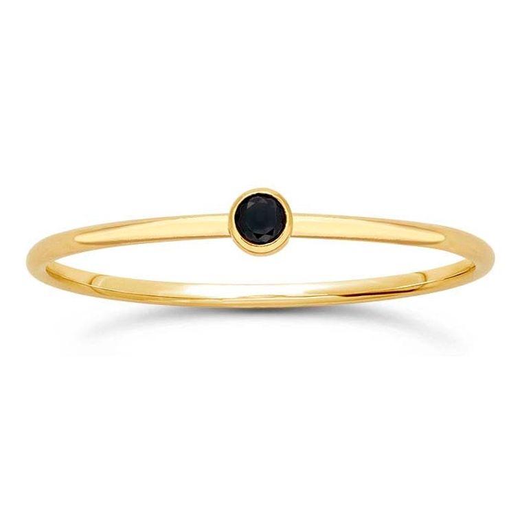 14k Gold Filled Black Gem Ring