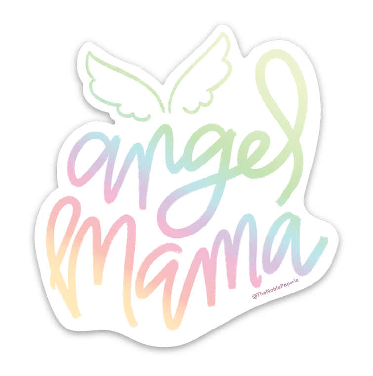 "Angel Mama • 3"" Noble Rainbow Holographic Die-Cut Sticker"
