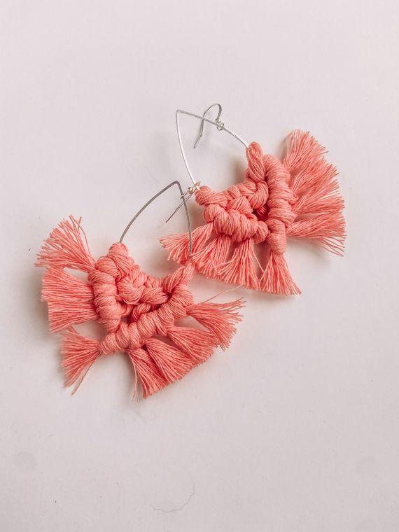 Coral Macrame Earrings - Teardrop