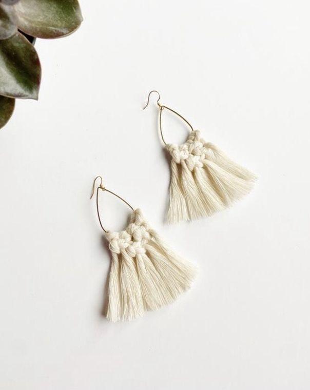 Cream Macrame Teardrop Earrings