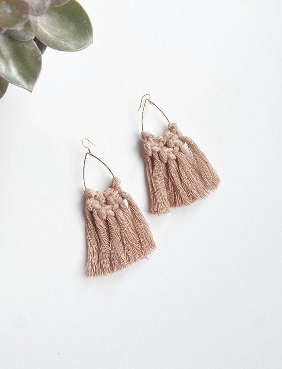Nude Macrame Teardrop Earrings