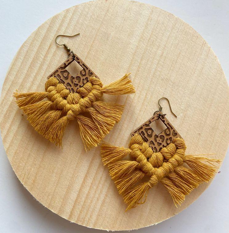 Mustard Leopard Print Macrame Earrings