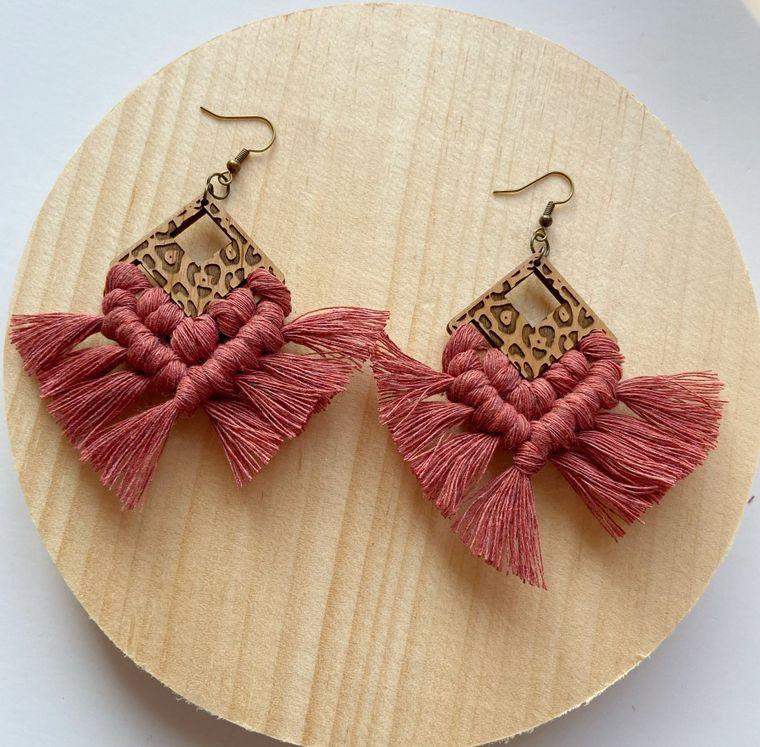 Pomegranate Leopard Print Macrame Earrings