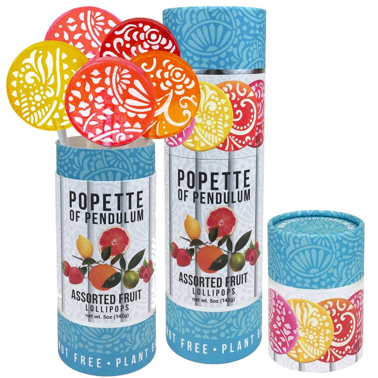 Assorted Fruit Lollipop Canister