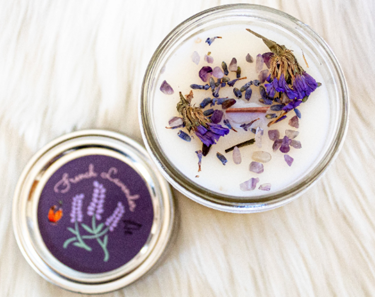 French Lavender Candle| Coconut Wax Candle| Amethyst| Wood Wick Candle| Ritual Candle