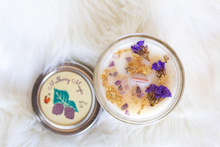 Magic Mulberry Candle| Coconut Wax Candle| Amethyst | Wood Wick Candle| Ritual Candle