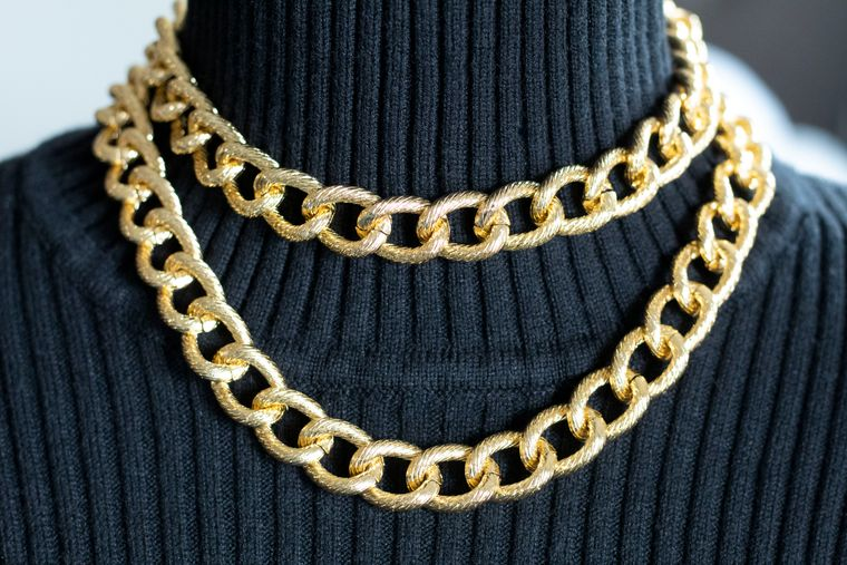 Gold Bezel Chain Layered Necklace