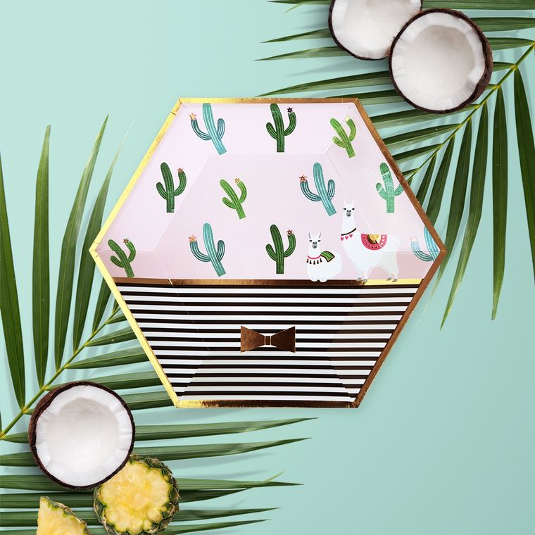 CLEARANCE SALE - Cactus Llama Fiesta Party Plates - Summer Party Supplies