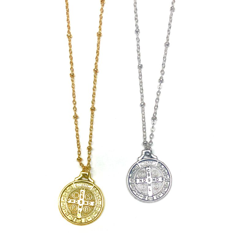 St. Benedict Coin Necklace-Silver