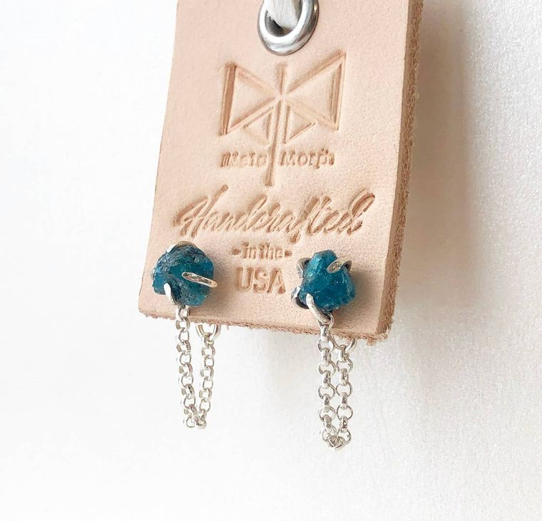 Mineral Stud & Chain Earrings