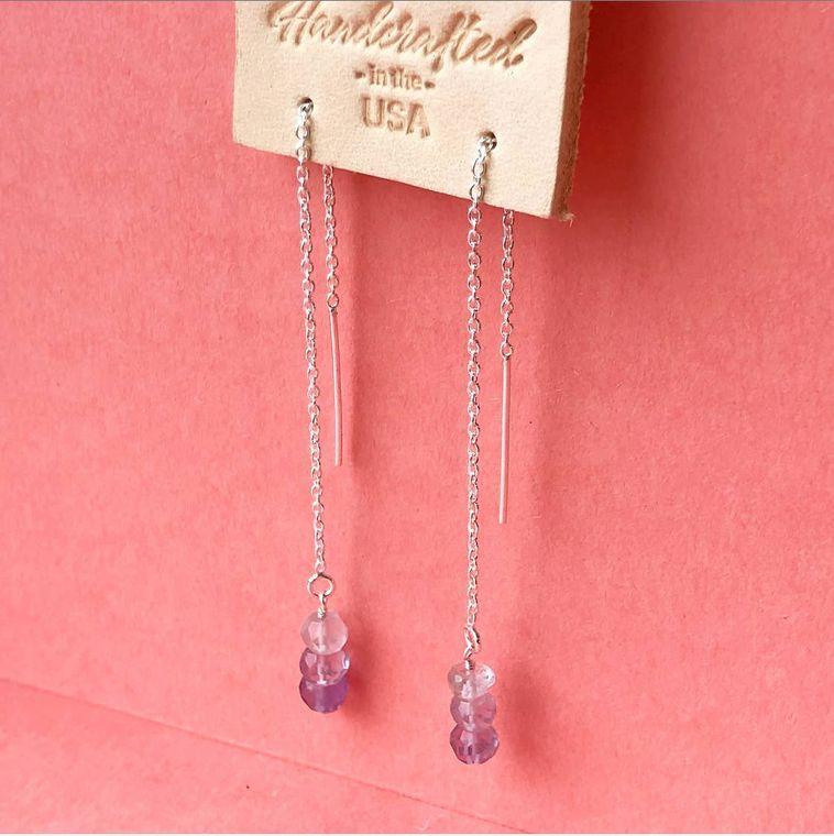 Ametrine Threader Earrings
